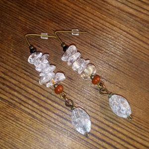 Quartz Nugget Dangle Drop Earrings